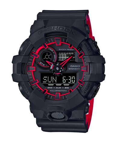 Casio Ana-Digi G-Shock Layered Red Resin Strap Watch-BLACK-One Size