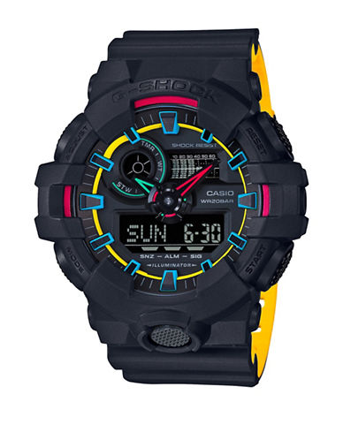 Casio Ana-Digi G-Shock Layered Yellow Resin Strap Watch-BLACK-One Size