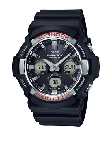 Casio Ana-Digi GAS-100 G-Shock Solar Powered Resin Strap Watch-BLACK-One Size