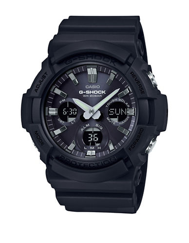 Casio Ana-Digi GAS-100B G-Shock Solar Powered Resin Strap Watch-BLACK-One Size