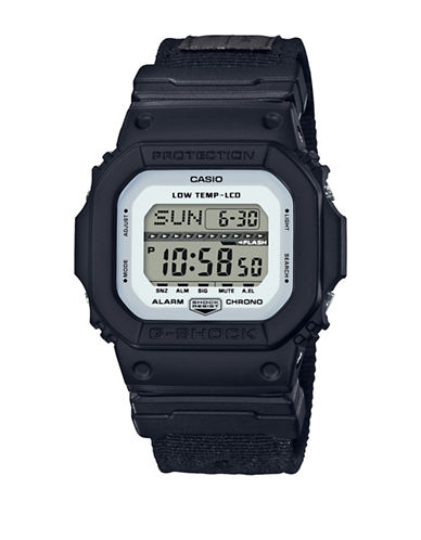 Casio Digital G Lide Cloth Black Stainless Steel Strap Watch-BLACK-One Size