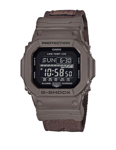 Casio Digital G Lide Cloth Black Stainless Steel Strap Watch-BROWN-One Size