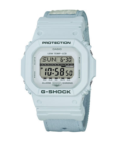 Casio Digital G Lide Cloth White Stainless Steel Strap Watch-WHITE-One Size