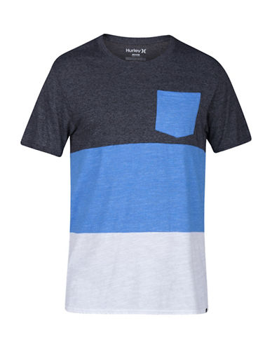 Hurley Colourblocked Tri-Blend T-Shirt-GREY/BLUE-X-Large