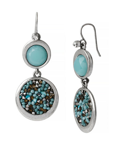 Kenneth Cole New York Pebble Beach Mixed Faceted Bead Round Double Drop Earring-TEAL-One Size