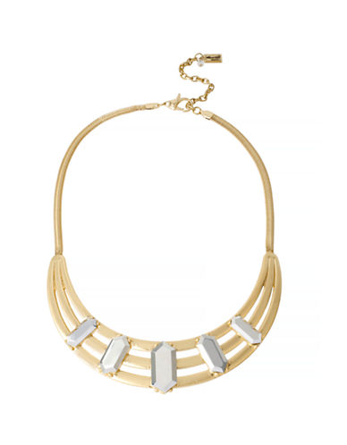 Kenneth Cole New York Natural Wonder Geometric Faceted Bead Cut Out Sculptural Frontal Necklace-GOLD-One Size