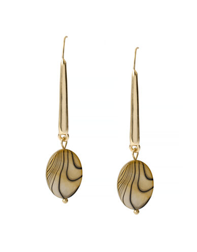 Kenneth Cole New York Natural Wonder Shell Bead Long Drop Earring-GOLD-One Size