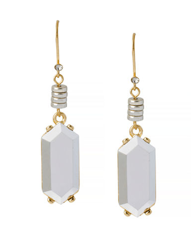 Kenneth Cole New York Natural Wonder Geometric Faceted Bead Drop Earring-SILVER-One Size