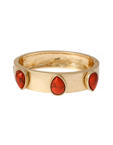 Kenneth Cole New York Semiprecious Bead Hinged Bangle Bracelet-CORAL-One Size