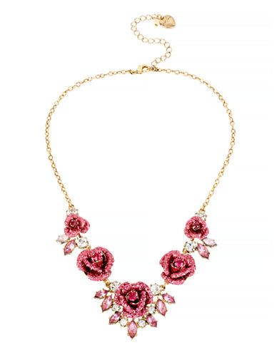 Betsey Johnson Glitter Rose Metal Plastic Necklace-PINK-One Size