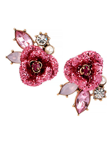 Betsey Johnson Glitter Rose Metal Plastic Stud Earring-PINK-One Size