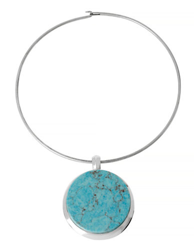 Robert Lee Morris Soho Blue Dimensions Metal Semi-Precious Stone Pendant Necklace-TURQUOISE-One Size