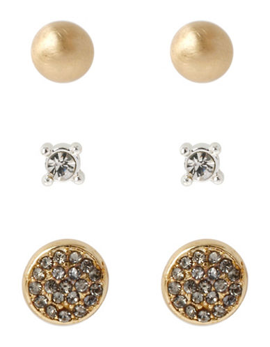 Kenneth Cole New York Pave Crystal Circle Stud Earring Set-WHITE-One Size