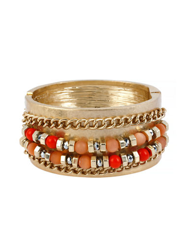 Kenneth Cole New York Citrus Slice Mixed Bead and Chain Hinged Bangle Bracelet-ORANGE-One Size