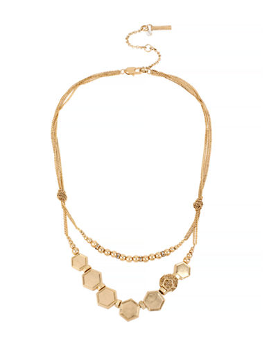 Kenneth Cole New York Citrus Slice Pave Geometric Bead Frontal Necklace-GOLD-One Size