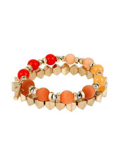 Kenneth Cole New York Citrus Slice Mixed Bead Stretch Bracelet Set-ORANGE-One Size