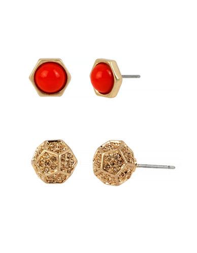 Kenneth Cole New York Citrus Slice Geometric Duo Stud Earring Set-ORANGE-One Size