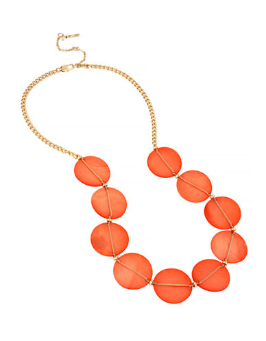 Kenneth Cole New York Orange Shell Shell Disc Frontal Necklace-ORANGE-One Size