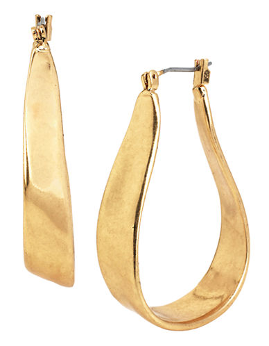 Kenneth Cole New York Gilded Lapis Metal Hoop Earring-GOLD-One Size