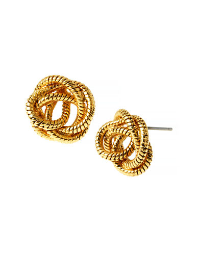 Diane Von Furstenberg Belle de Jour Knotted Snake Chain Stud Earring-GOLD-One Size