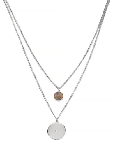 Kenneth Cole New York Summer Glow Round Shell and Disc Duo Pendant Necklace-SILVER-One Size
