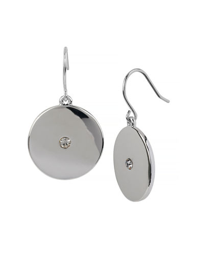 Kenneth Cole New York Summer Glow Round Disc Drop Earring-SILVER-One Size