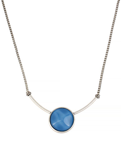Kenneth Cole New York Moonstone Eclipse Round Stone Pendant Necklace-BLUE-One Size