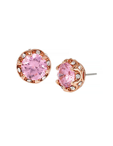 Betsey Johnson All That Glitters Ruffled Pink Crystal Stud Earring-PINK-One Size