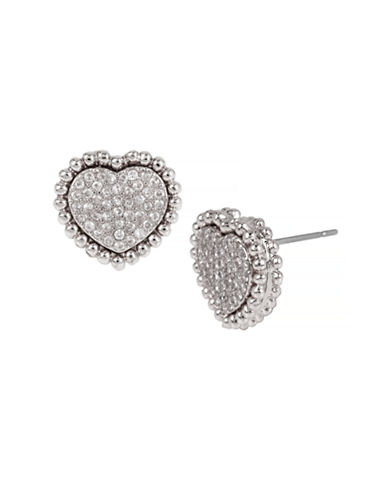 Betsey Johnson All That Glitters Pave Crystal Silver Heart Stud Earring-CRYSTAL-One Size