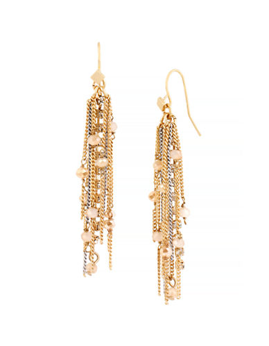 Kenneth Cole New York Fringe Worthy Faceted Bead and Two Tone Multi Chain Drop Earring-GOLD-One Size