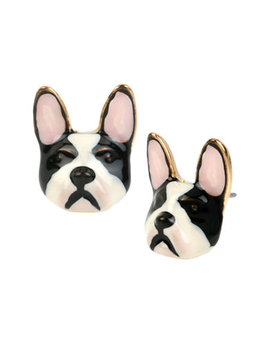 Betsey Johnson Sugar Critters Bulldog Stud Earring-BLACK/WHITE-One Size