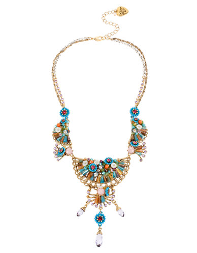 Betsey Johnson Weave and Sew Woven Multi Coloured Flower Statement Necklace-MULTI-One Size