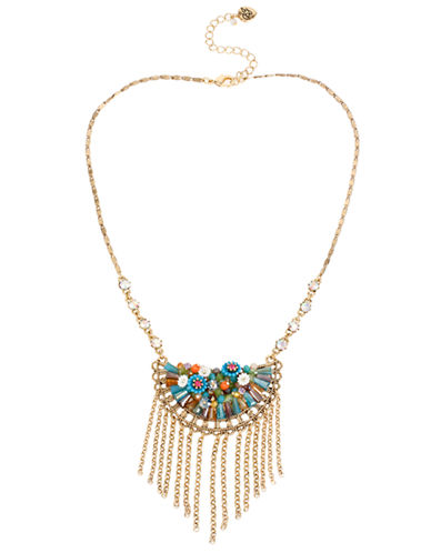 Betsey Johnson Weave and Sew Woven Mixed Multi Coloured Bead and Flower Fringe Frontal Necklace-MULTI COLOURED-One Size