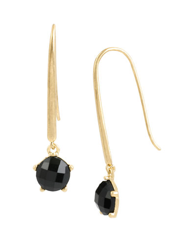 Kenneth Cole New York Jet Jewels Faceted Stone Long Drop Earring-JET-One Size