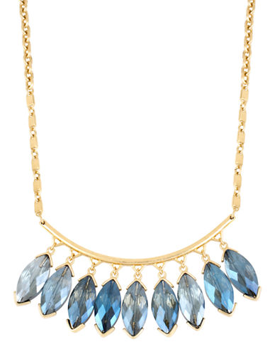Kenneth Cole New York Blue Rays Shaky Faceted Oval Stone Frontal Necklace-BLUE-One Size