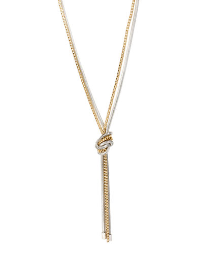 Kenneth Cole New York Mixed Metal Knotted Mixed Two-Tone Chain Y-Shaped Long Necklace-TWO TONE-One Size