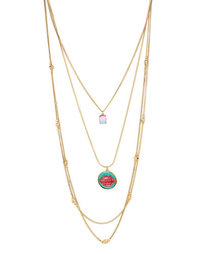Betsey Johnson Ocean Drive Lips Multi Row Necklace-MULTI COLOURED-One Size