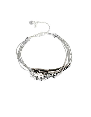 Kenneth Cole New York Multi-Row Mixed Bead Bracelet-SILVER-One Size