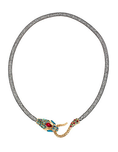 Betsey Johnson Pave Mesh Snake Collar Necklace-MULTI-One Size