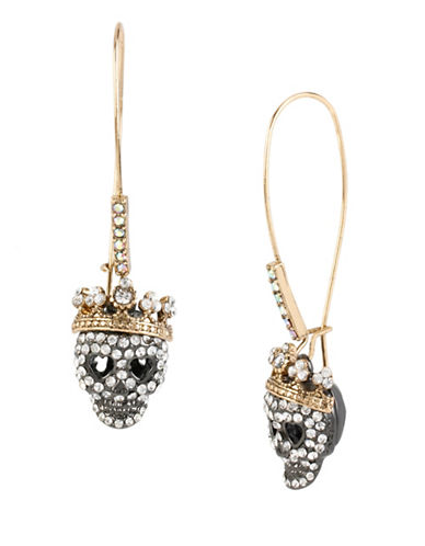 Betsey Johnson Pave Skull Drop Earrings-CRYSTAL-One Size