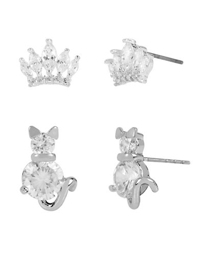 Betsey Johnson Cat and Crown Stud Earring Set-CRYSTAL-One Size