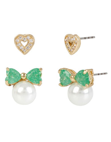 Betsey Johnson Heart and Bow Stud Earring Set-MINT-One Size