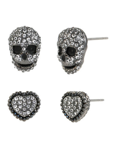 Betsey Johnson Heart and Skull Stud Earring Set-CRYSTAL-One Size