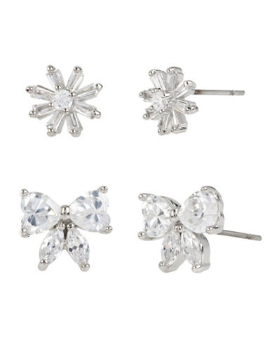 Betsey Johnson Flower and Bow Stud Earring Set-CRYSTAL-One Size