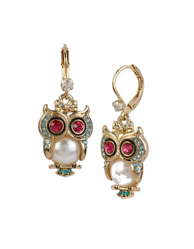 Betsey Johnson Pearl Critters Faux Pearl Owl Drop Earrings-WHITE-One Size