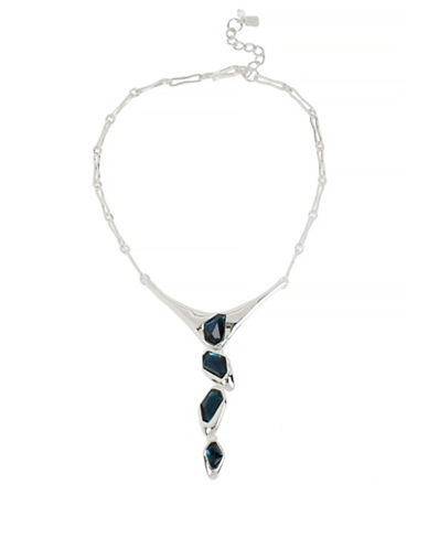 Robert Lee Morris Soho Faceted Stone Y-Shaped Necklace-BLUE-One Size