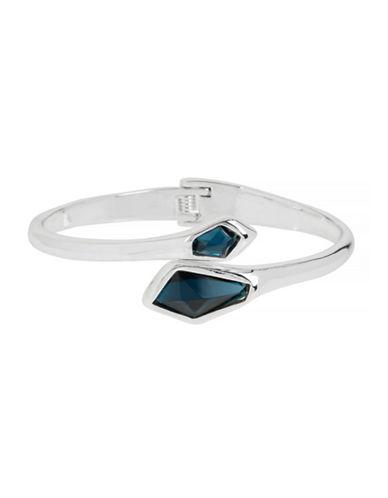Robert Lee Morris Soho Faceted Stone Wrap Hinged Bangle Bracelet-BLUE-One Size