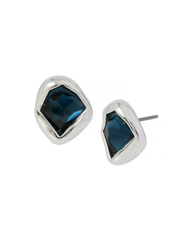 Robert Lee Morris Soho Faceted Stone Stud Earrings-BLUE-One Size