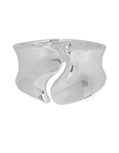 Robert Lee Morris Soho Silver Sculptural Hinged Bangle Bracelet-SILVER-One Size