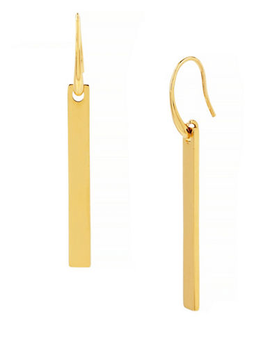 Diane Von Furstenberg Linear Bar Drop Earrings-GOLD-One Size